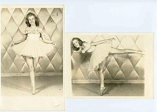 (2 Dance Recital Photos of Smiling Ballerina on Toe 1950's)