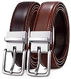 Men's Belt, Bulliant Leather Reversible Belt 1.25' For Mens Dress Casual Golf Belt,One Reverse for 2 Colors