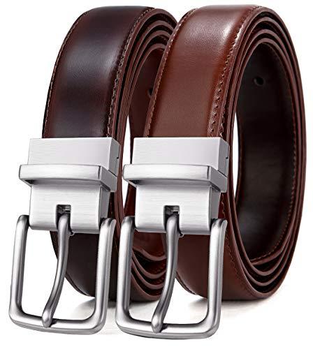 (Men's Belt, Bulliant Leather Reversible Belt,One Belt Reverse for 2 Colors)