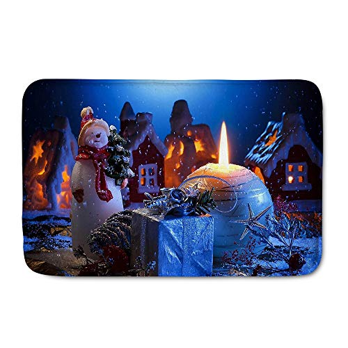 WHEREISART Snowman Decor Skid Resistant Rug,Merry-Christmas Decoration Non Slip Indoor Outdoor Doormat,Beautiful Snowman Pattern,Soft Flannel Entrance Mat Great Gifts 16