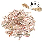 Vosarea 101pcs Mini Wooden Pegs Photo Paper Craft Clips Laundry Clothespins (Random Pattern)