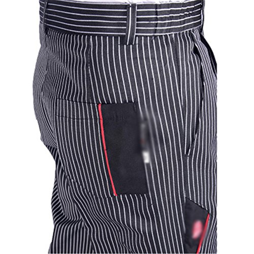 (Desirca Chef Service Cook Uniform Chef Executive Chef Pant Black White Striped Elastic Black Peppers Migo Restaurant Uniform 4 M)