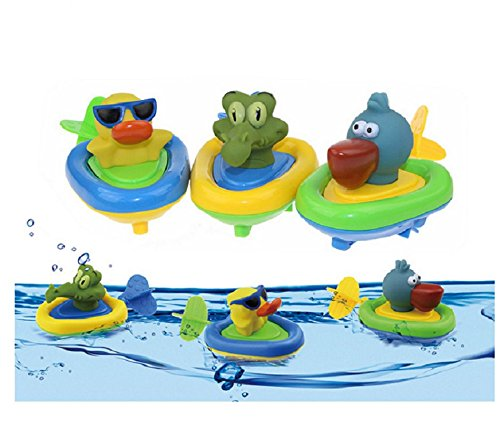 Bath Time Baby Playset (YuKing Amphibious Pull and Go Boat Car Playset Bathing Soft Rubber Animal Boat Swimming Bathtime Fun Bath Tub Toys for Baby Toddlers)