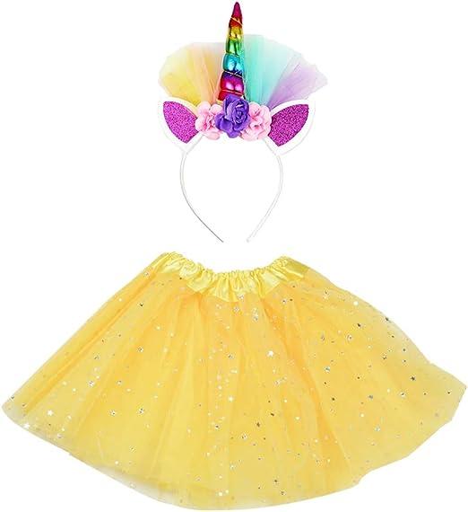 Amosfun Disfraz de Unicornio para Niñas Falda Tutú Diadema de ...