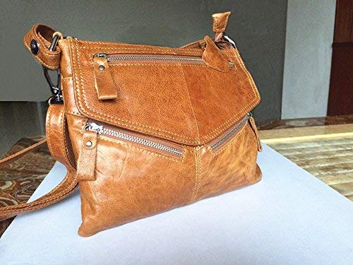 15a0867f6e96 NIGEDU Women Messenger Bags Soft Genuine Leather Crossbody Shoulder Bag  Small Real Leather Handbags (Black