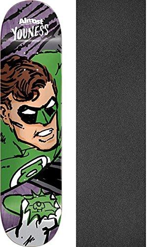 泳ぐはさみアリAlmostスケートボードYouness Amrani Sketchy Green Lantern resin-7スケートボードデッキ – 8.12 X 31.7 CMでMobグリップ穴あきグリップテープ – 2アイテムのバンドル