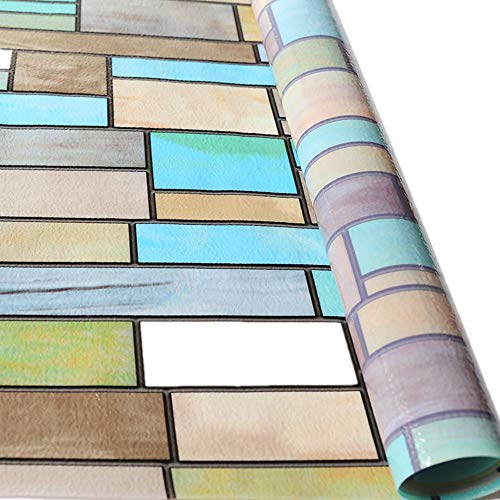 "VELIMAX Stained Glass Window Film Privacy Window Sticker Removable Decorative Window Tint Sun Blocking Heat Control Colored Brick (35.4""x78.7"")"