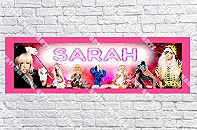 Personalized Lady Gaga Banner - Includes Color Border Mat, With Your Name On It, Party Door Poster, Room Art Decoration - Customize