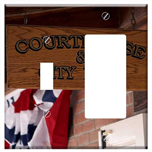 1-Toggle 1-Rocker/GFCI Combination Wall Plate Cover - Courthouse Justice Shield Town Hall