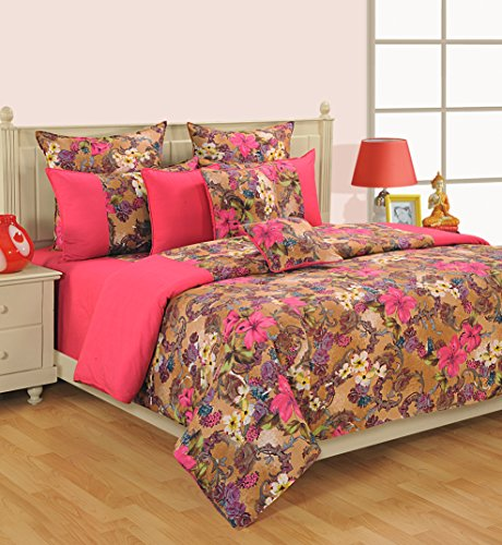 Copper Euro Comforter - ShalinIndia Indian Bedding Set Includes Bedsheet, Duvet Cover, Pillowcases And Cushion Cover 100% Cotton Colors Of Life Collection Queen - Pink Copper