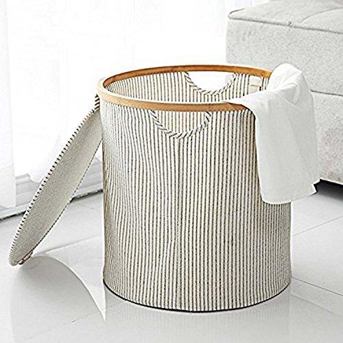 GOHIDE A Folding Laundry Basket Storage Round Barrel Large Wood Laundry Storage Basket Toy Clothes Storage Basket 38 x 38 cm XCX by GOHIDE (Image #3)