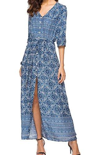 Coolred-femmes Boutonnée Taille Smockée Split Vêtements De Plage De Robe De Soirée Bohème À Motifs 7