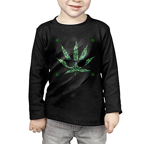 Marijuana Leaf Weed With Sunglasses Kids Children Unisex Long Sleeve Cotton Crew Neck T-Shirt Tee 3 Toddler