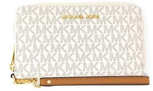 (Michael Kors Jet Set Travel Large Flat Multifunction Phone Case Wristlet (Vanilla 2018))