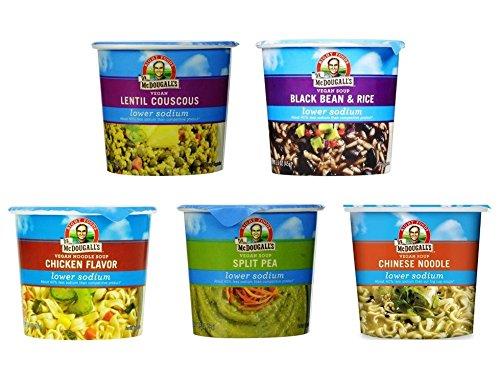 Dr. McDougall's Lower Sodium Soup Cups 5 Flavor Variety Bundle, 1 Ea: Chicken, Chinese Noodle, Black Bean & Rice, Split Pea, Lentil Couscous