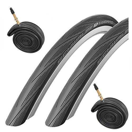Schwalbe Lugano 700 x 23c Road Bike Tyres 2016 - Black (Pair) + 2 Tubes