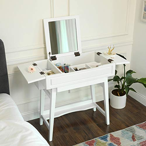 VASAGLE Vanity Table with Flip Top Mirror, Solid Wood Makeup Dressing Table Desk,6 Organizers for Different Sized Makeup Accessories, 1 Small Drawers for Lipsticks, Powders, White URDT26WT