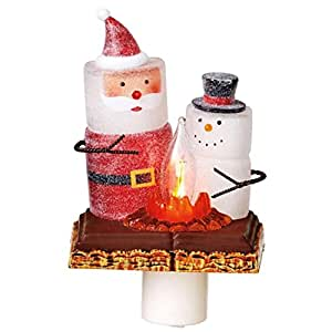 """6"""" S'mores Glittered Marshmallow Snowman and Santa with Campfire Christmas Night Light"""