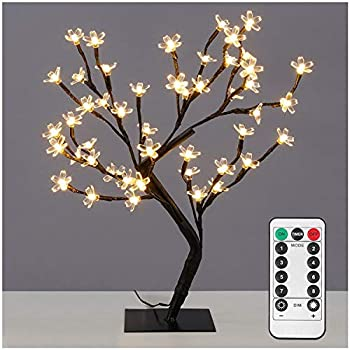 Dimmable Cherry Blossom Tree Light Desk Lamp with Remote,17.7