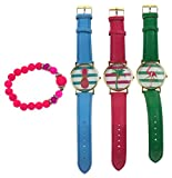 Tropical Theme Watch Bundle - 3 Watches with Pineapple, Palm Tree & Flamingo + 1 Tropical Bracelet
