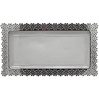 6 - Pack Exquisite Plastic Clear Plate With Silver Edged Flower Plastic Serving Tray Large  sc 1 st  Amazon.com & Amazon.com | 6 - Pack Exquisite Plastic Clear Plate With Silver ...