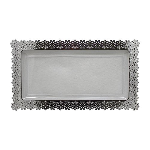 6 - Pack Exquisite Plastic Clear Plate With Silver Edged Flower Plastic Serving Tray, Large - 9 Inch. x 15.5 Inch.) ()