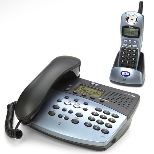 - AT&T 2462 2.4 GHz DSS 2-Line Cordless Phone with Answering System, Speakerphone, and Corded Base (Metallic Black)
