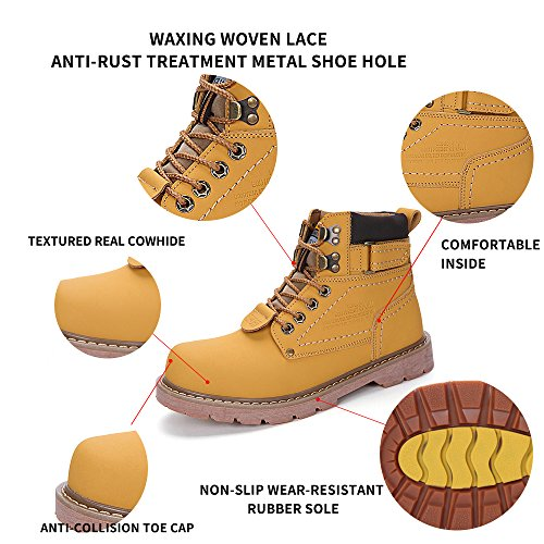 ENLEN&BENNA WomenMen's Work Boots Safety Boots Composite Toe Cap Waterproof Tan Casual Motorcycle Boot Lightweight by ENLEN&BENNA (Image #3)