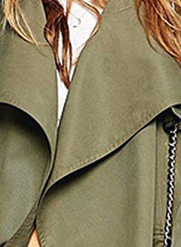 Azbro Mujer Gabadrina Abrigo Solapa Asimétrica Delantero Abierto Con Cinturón