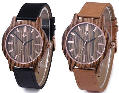 Marino Mens Leather Wooden Watch - Wrist Watches for Men - Dress Wood Watch - Tan/Black - Leather (Black Marine Wrist Watch)
