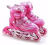 Childrens Kids Boys Girls 4 Wheel Adjustable Inline Skates Roller Blades Boots (Hot Pink Medium /UK 2 - 4/)