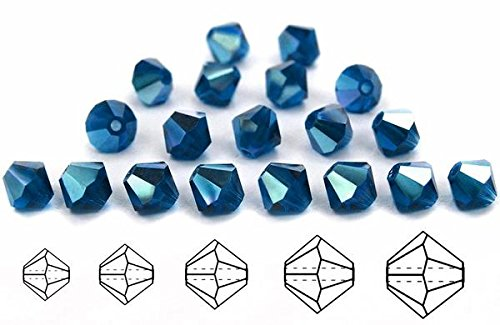 6mm Dark Aqua AB coated, Czech MC Rondell Bead (Bicone, Diamond Shape), 12 pieces