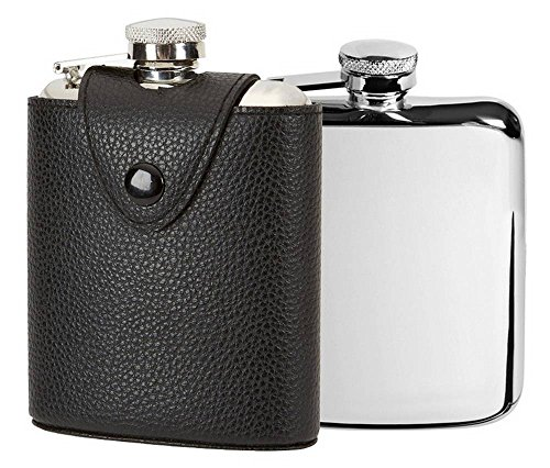 Orton West Mens 6oz Captive Top Leather Cover Hip Flask - Black/Silver