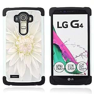 """LG G4 H815 H810 H811 LS991 LS986 US991 H815 U812 - 3 en 1 impreso colorido de Altas Prestaciones PC Funda chaqueta Negro cubierta gel silicona suave (Flor de la flor blanca"""")"""
