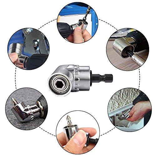 "3Pcs 1/4"" 3/8"" 1/2"" Cr-V Hex Shank Impact Grade Socket Adapter/Extension Set + 105 Degree New Right Angle Drill Bit Adapter Attachment 1/4"" Drive 6mm Hex Magnetic Bit Socket Screwdriver Holder Adaptor"