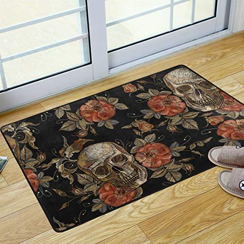 Skull Door Mat (S Husky Halloween Welcome Door Mat Skull Flowers Gothic Decoration Rug for Kitchen Bathroom Outdoor Porch Laundry Living Room Washable Carpet 36 x 24 in)