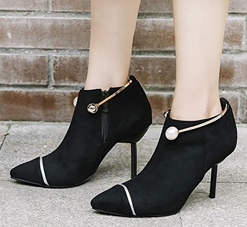 Women's Boots Aisun High Toe Zipper Sexy Heels Pointy Black Shoes Stilettos axqdnqR8T