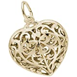Rembrandt Charms, Filigree Heart, 14k Yellow Gold