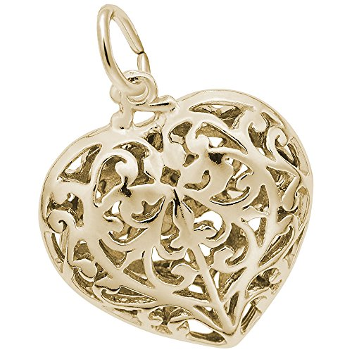 Rembrandt Charms, Filigree Heart, 22k Yellow Gold Plate on .925 Sterling Silver ()