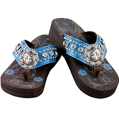 Concho Collection (Montana West Bling Bling Collection Flip Flops, Silver Flower Shaped Concho, Floral. Womens, Navy Blue, Size)