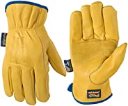 Slip-On HydraHyde Leather Work Gloves, Water-Resistant, Large (Wells Lamont 1168L), Tan