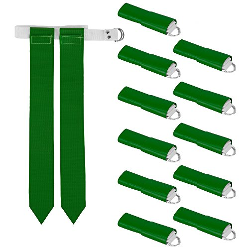 12-Pack Flag Football Team Set – Includes 12 Belts with 24 Flags, Accessories for Flag & Touch Games, Practices, & Training by Crown Sporting Goods (12 Green)