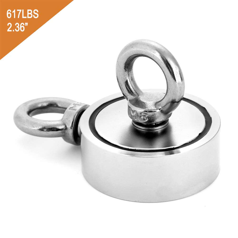 Double Side Magnet Round Neodymium Fishing Magnet Combined 617LB(280KG) Pulling Force, 60mm Diameter Super Powerful Fishing Magnet with 2 Eyebolts for Magnet Fishing and Salvage in River HHOOMY