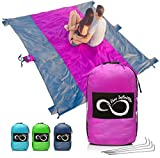Sand Free Beach Blanket- 7 Person 9' x 10' Sand Proof Mat - Travel Friendly For Festivals & Hiking- Extremely Soft Quick Drying Heat Resistant Nylon- 4 Anchor Loops & Stakes Purple Middle