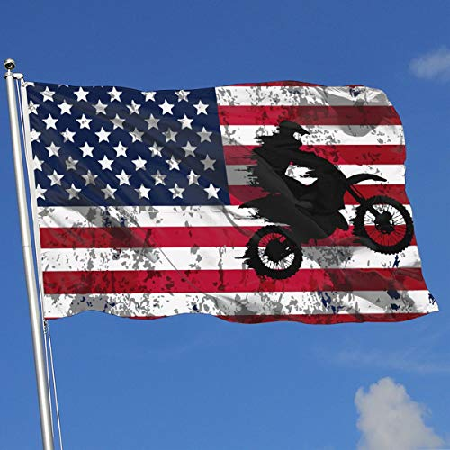 JQDAPaflag Motocross Drivers Silhouette Flag 3 X 5-100% Polyester Single Layer Translucent Flags 90 X 150CM - Banner 3' X 5' Ft
