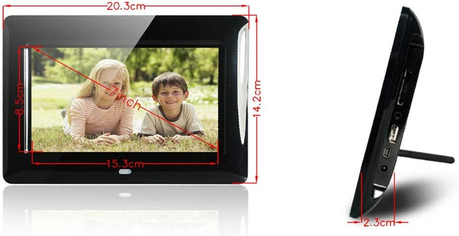 LoMe Digital Photo Frame 7 Hi-Res Touchscreen IPS LCD Display Wall Mountable,Black Photo//Music//Video Support 800480 Resolution