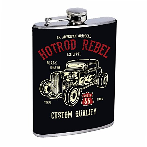 Lyfe Style Stainless Steel Flask 8oz with Beautiful T-shirt Design Hot Rod Rebel by Lyfe Style