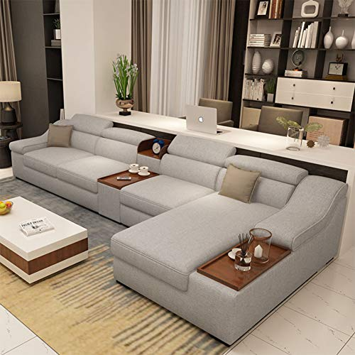 JINPENGRAN Living Room Sofa - Sofa - Fashion Fabric Sofa - Combination Set - Cafe Hotel Furniture - Simple Leisure Sofa,Gray ()