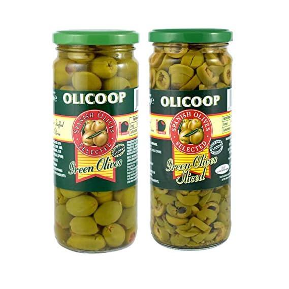 Olicoop Green Stuffed Olives + Green Slice Olives, 450g, Pack of 1 Unit Each