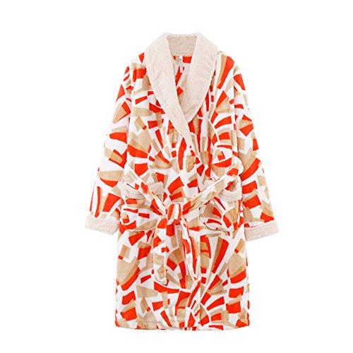 Pijamas De Terciopelo De Coral Impresa De Las Mujeres/Bata A